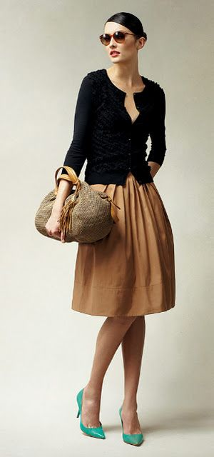 Black skinny cardigan, camel full pleated above knee skirt, turquoise heels, shades So French!