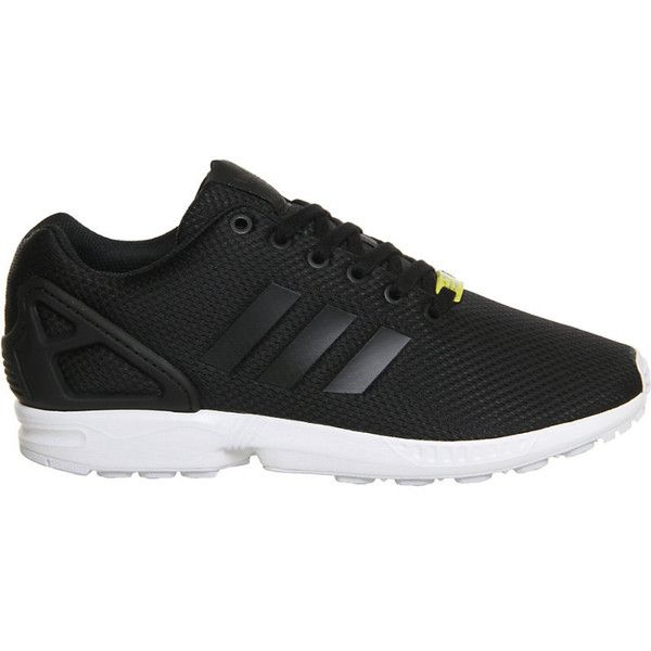 Adidas ZX Flux trainers ($52) ❤ liked on Polyvore featuring shoes, sneakers, fleece-lined shoes, adidas, 80s sneakers, lace shoes and white and black shoes