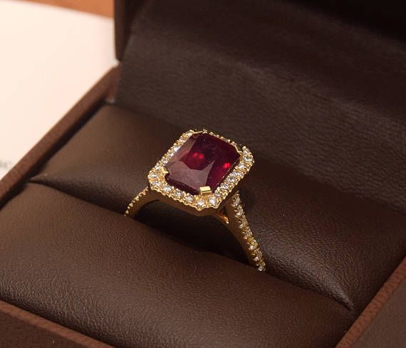 5ct Ruby Ring & Natural Diamonds 18K Proposal Gold Ring
