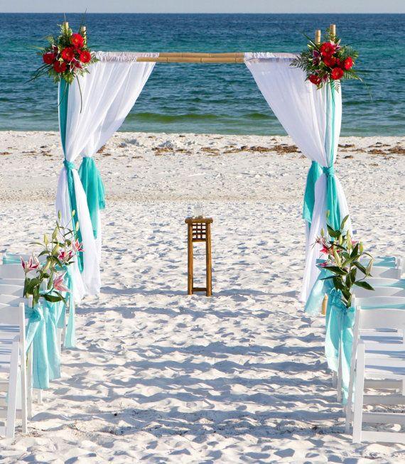 Beach Wedding Bamboo Arbor Arch Chuppah Altar , - without draping fabric , Beach wedding ceremony on Etsy, $375.00