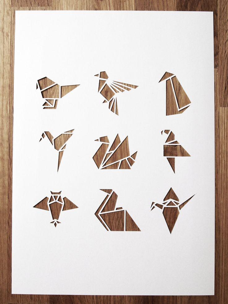 white origami bird A4 papercut (sarah louise matthews).