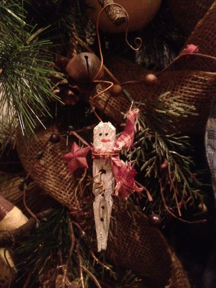 Primitive Christmas Icicle Snowman Rusty Wire Wood Clothespin Ornament Ornie New | eBay