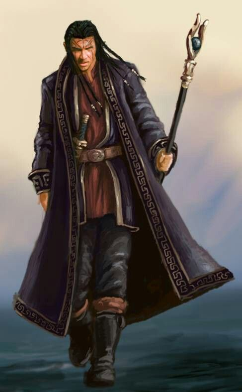 Male human wizard or sorcerer with robe and staff. Forgotten Realms: Demon Stone Wizard