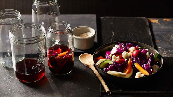 """Giardinieri or """"gardeners"""" is a mixed Italian pickle, generally served as an antipasti. here, O Tama Carey has combined the classic suspects - cauliflower and carrot - with capsicum, red cabbage and radish. Check out The Seasonal Cook's column for tips and recipes."""