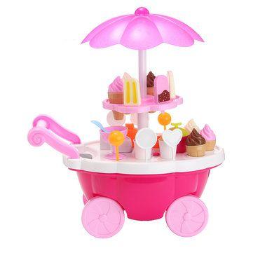 39PCS Electric Candy Ice Cream Car Cart Trolley Flashing Light Musical Kids Toy Sale - Banggood.com