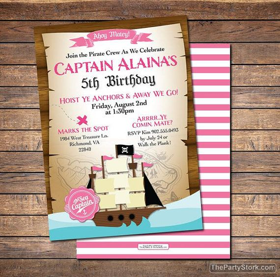 Girl Pirate Invitation | Printable Pink Girls Pirate Invite | Click to View Matching Party Printables and Party Pack