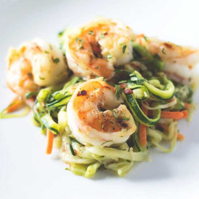 Spicy Garlic Shrimp Zoodles. A quick and healthy shrimp dish, made with zucchini noodles. Ready in 15 minutes.