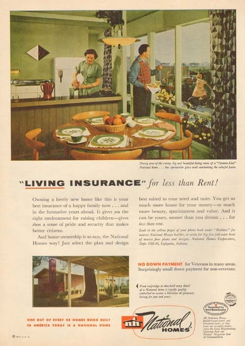 NATIONAL Homes MOBILE HOME Retro TRAILER PARK Pre Fab AD 1950s