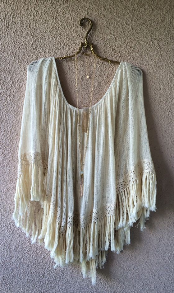 Image of Just in!! Free People Resort FP at the Beach walk boho gypsy poncho with fringe