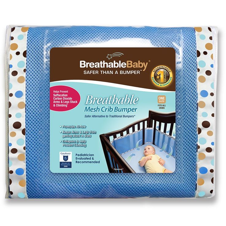 Breathable Mesh Crib Bumper - Sky Blue/Brown Bubbles on Deep Blue (Photo: BreathableBaby, LLC)