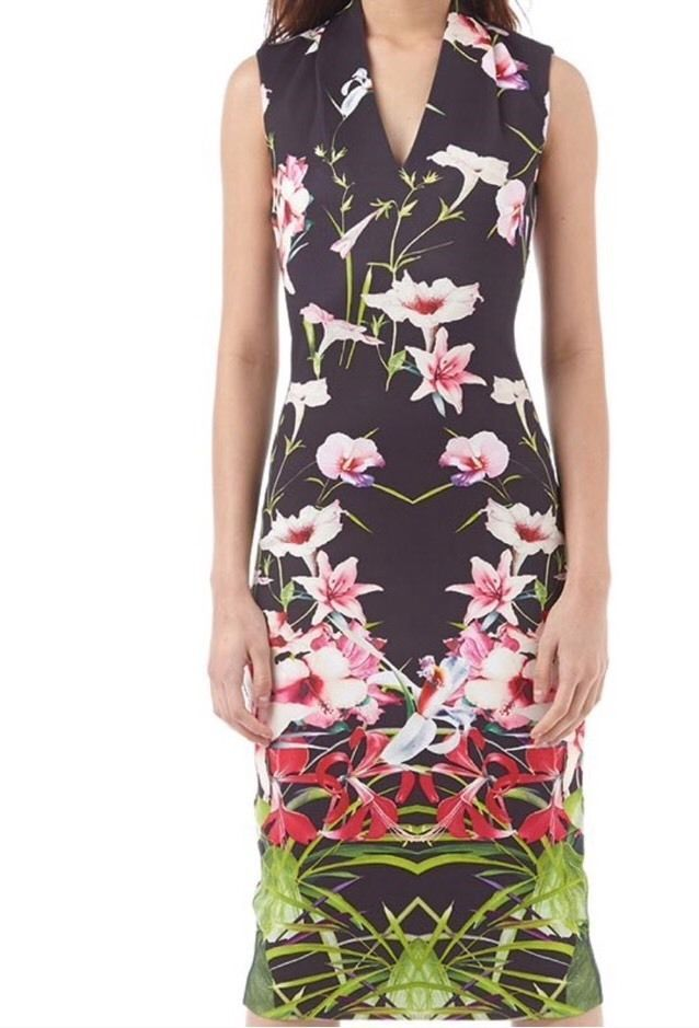 e80a069ec BNWT Stunning TED BAKER Jalita Mirrored Tropics Bodycon Midi Dress 1 UK 8  US 4
