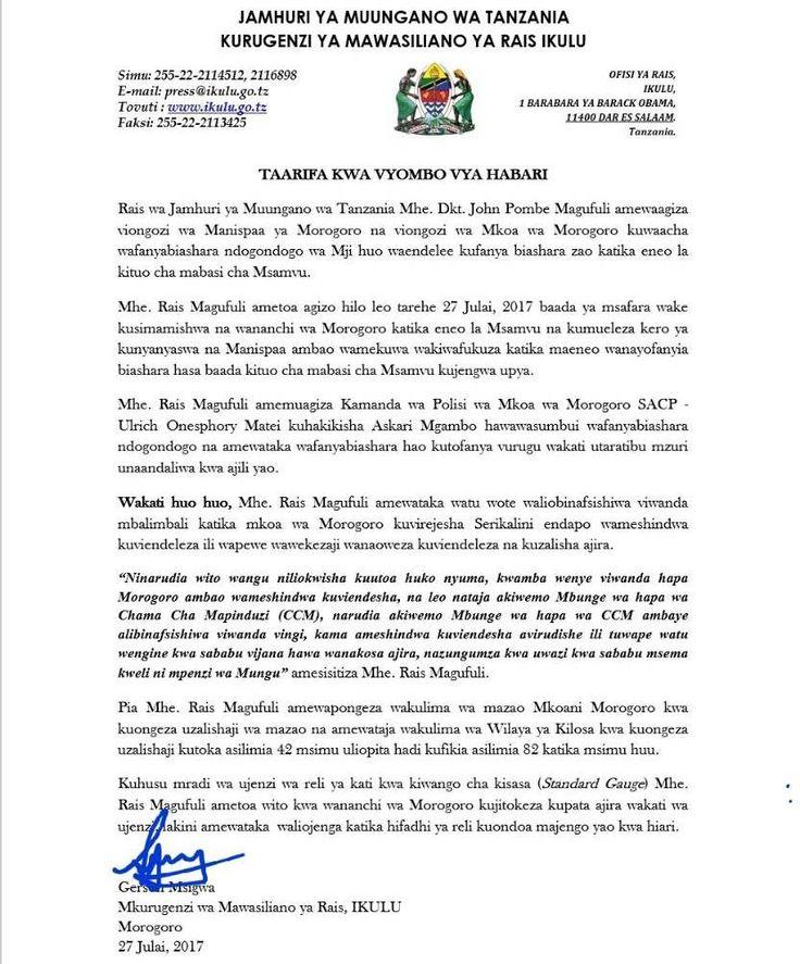 MOROGORO- RAIS John Magufuli amewaagiza viongozi wa Halmashauri ya Manispaa ya Morogoro, kuwaacha wafanyabiashara wadogo maarufu 'Mac...