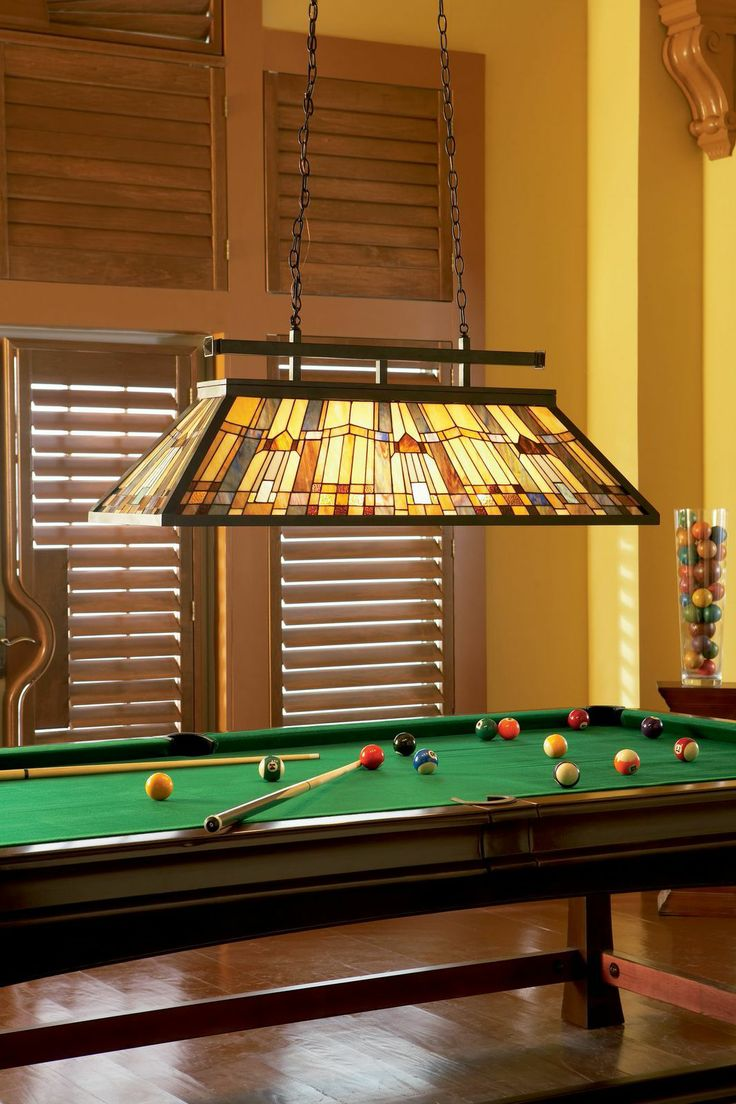 Complete Your Billiards Room With A Traditional Stained Glass Hanging Lamp.