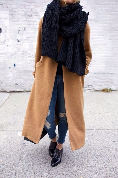 oversized black scarf, camel coat, ripped jeans & oxfords #style #fashion