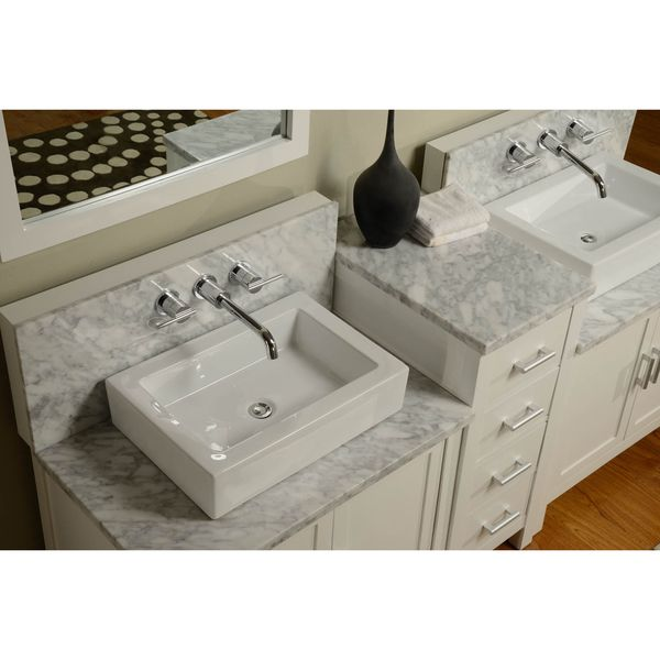 Direct vanity sink 84 inch horizon pearl white carrera for Bathroom vanity packages
