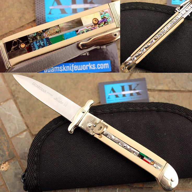 """Take a look at this beauty!! Custom Hubertus-Solingen """"GUARDIAN"""" Swing Guard Springer with Ivory Micarta and Mosaic Art Inlay! The Mosaic design on the backside features handcut pieces of Mammoth Molar, Gold Lip and Black Lip Pearl, Green and Red Abalone, Arizona Jade, Gold Flake Jasper Stone, and Charoite Stone. #beauty #knifeart #share #guardian #hubertus #hubertusguardian #hubertusguardian #hubertus #solingen #german #germanknives #mosaic #mammothmolar #jasper #pearl #swingguard #abalone…"""