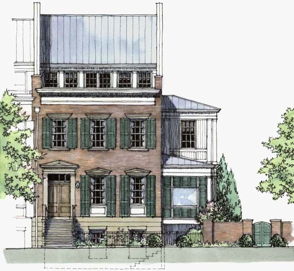 A beautiful example of hand-rendered elevation of a townhouse.
