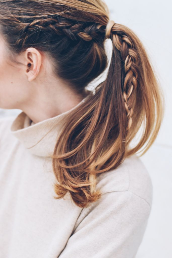 Ponytail with braid by Jennie Kay Beauty / Prosecco & Plaid