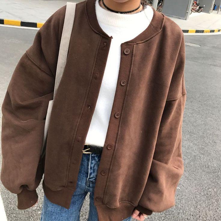 スウィート無地ランタンスリーブ長袖ラウンドネックアウター - DWSTYLE レディースファッション激安通販 10代·20代·30代ファッション 海外人気ファッション激安購入