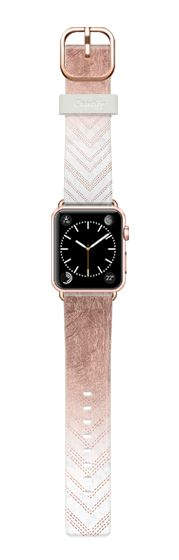 Casetify Apple Watch Band (42mm) Casetify Band - Modern faux rose gold ombre chevron stitcthes pattern white marble by Girly Trend by Girly Trend #Casetify