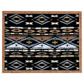 """Catch mail in the foyer or set out cocktails at your next soiree in eye-catching style with this bamboo tray, featuring a Southwestern-inspired motif. Made in the USA.  Product: TrayConstruction Material: Amber bambooColor: Black, light blue and brownFeatures: Designed by Romi Vega for DENY DesignsDimensions: 1.75"""" H x 18"""" W x 14"""" DCleaning and Care: Spot clean with window cleaner"""