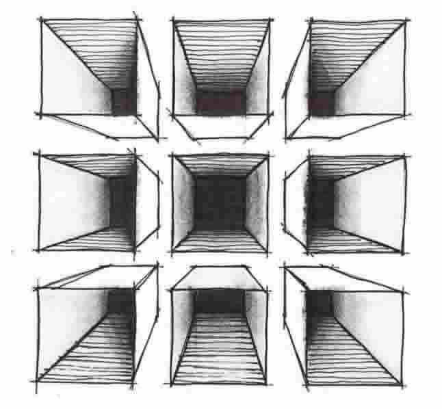 Boxes drawn in 1 point perspective from above, below and eye level with the HORIZON line.