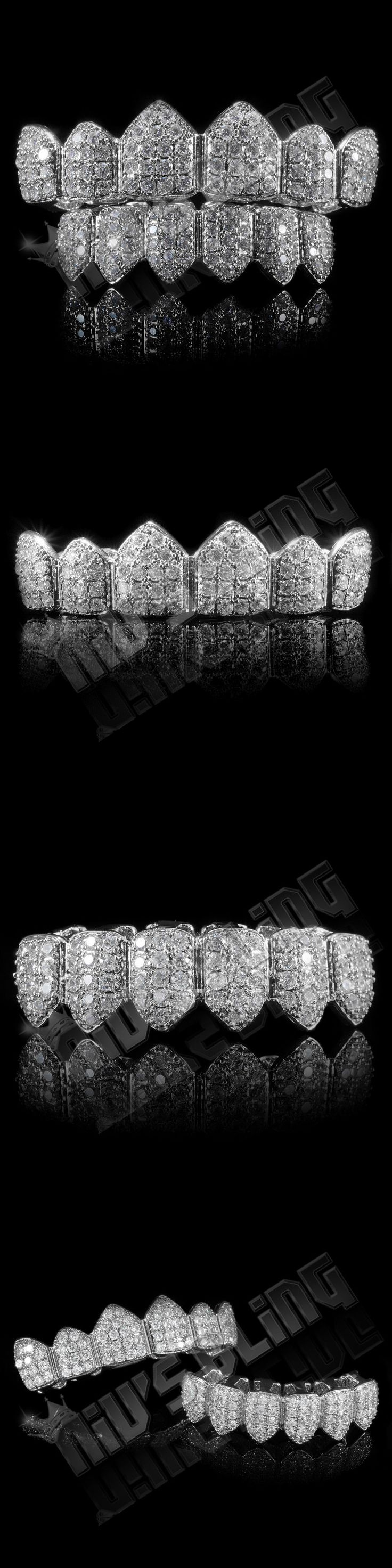 Grillz Dental Grills 152808: 18K White Gold Plated Custom Slugs Cz Top Bottom Grillz Teeth Mouth Grills Set BUY IT NOW ONLY: $49.99