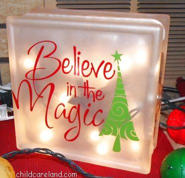 Glass blocks that was purchased at Menards. It came with a hole already cut out which was great. Spray painted the block with Krylon frosted glass and let it dry then use a Cricut and a pattern found at Vinyl Ready Designs to make the lettering and tree and put it on the front of the block. The last step was to put a set of twenty count lights in.