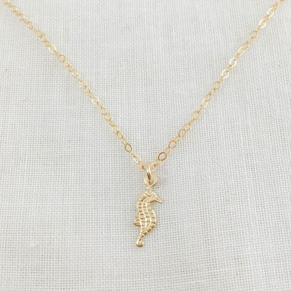 Seahorse necklace  14k gold filled  delicate magical by Nov9Design