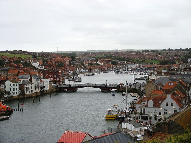 whitby bridge spanning the river esk opens to allow shipping access to the upper