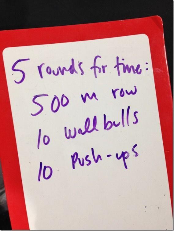 5 rds: 500m row, 10 wall-balls, 10 pushups