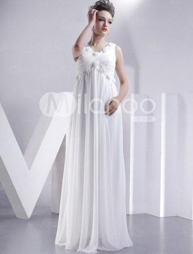Ivory Empire Waist Chiffon Wedding Dress Wedy Pinterest