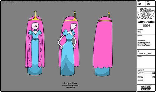 Model sheet: Bubblegum's blue evening dress from Susan Strong