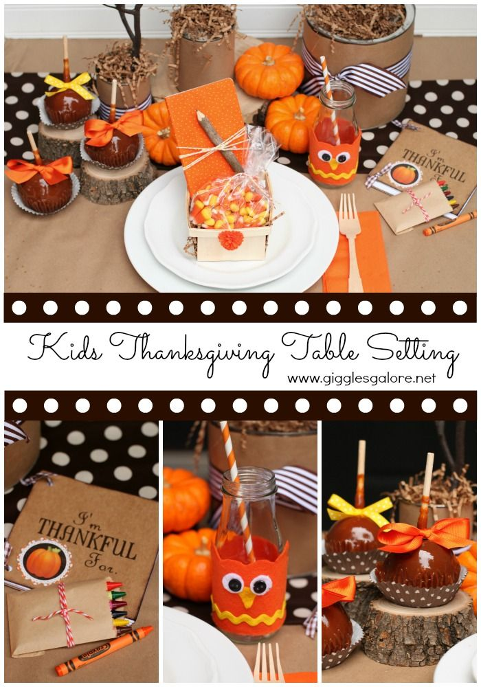 Whoo's Thankful Kids Thanksgiving Table Setting #holidayideaexchange