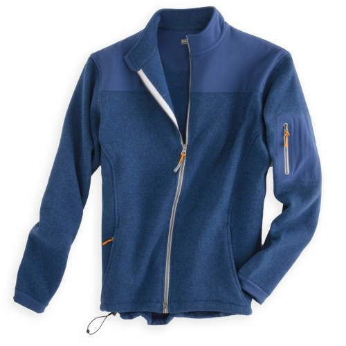 Extra-warm, this high performance fall favorite features a handsome sweater knit face and fleece back as well as an innovative water-repellent finish. The full-zip Logan Sweater Fleece features stretch woven shoulder panels, sleeve, pocket and cuffs.Details & Fit  Men's 100% polyester sweater fleece Water-resistant finish Full double-zipPeter Millar crown logo heat seal on back of yokeMachine wash cold; tumble dry low