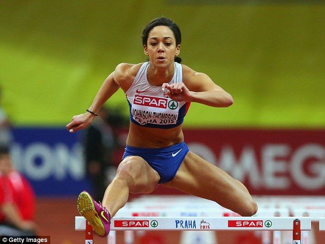 Katarina Johnson-Thompson broke her personal best time at the 60m hurdles in the pentathlon, recorded 8.18 seconds | 2015 European Indoor Championship, Prague