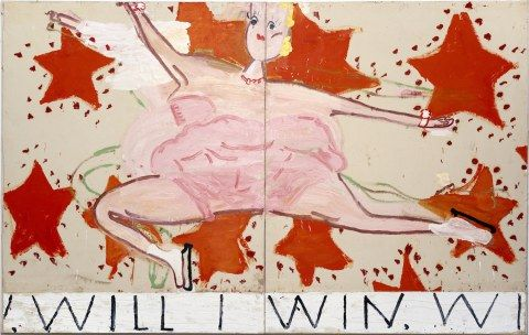 Artist Rose Wylie - Pink Skater, (Will I Win, Will I Win),