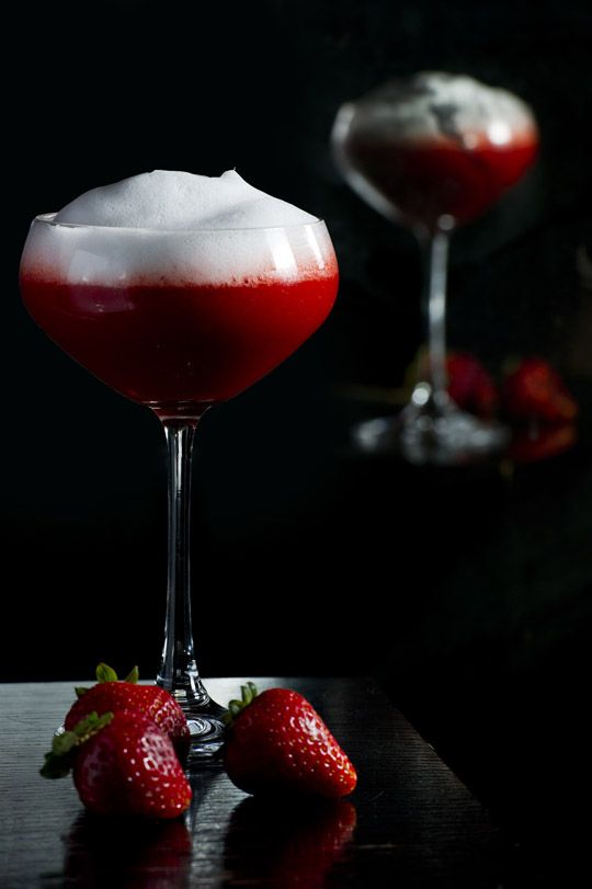 Champagne & Strawberry Martini- Simplistic yet exquisite summer fusion of Belvedere vodka, well shaken with crème de fraise, strawberry puree & fresh citrus. Served straight up in martini glass with champagne emulsion & candied strawberry.