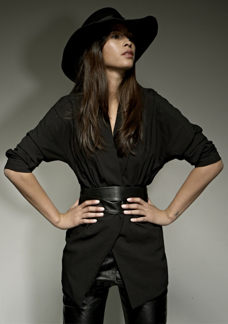Top: Oversized coat with lambskin leather belt Bottom: Pleated ...