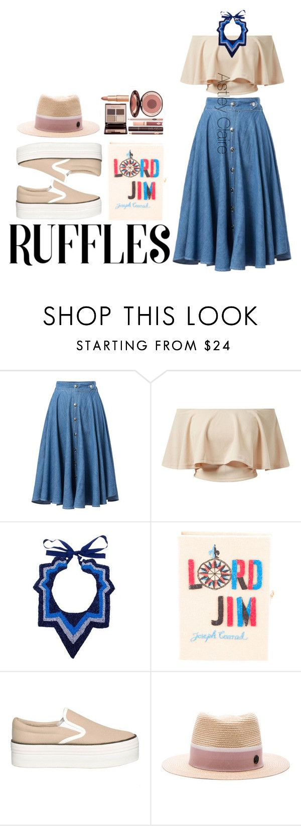 """""""All Ruffled Up"""" by zulfastley on Polyvore featuring AX Paris, Papiroga, Olympia Le-Tan, Jeffrey Campbell, Maison Michel, Charlotte Tilbury and ruffles"""