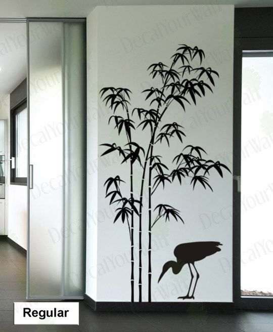 Tree Wall Decal Bamboo Large Tree Sticker Bird Decals Japanese Wall Art  Stickers Home Decor Wall Art Living room Bedroom Office Kitchen