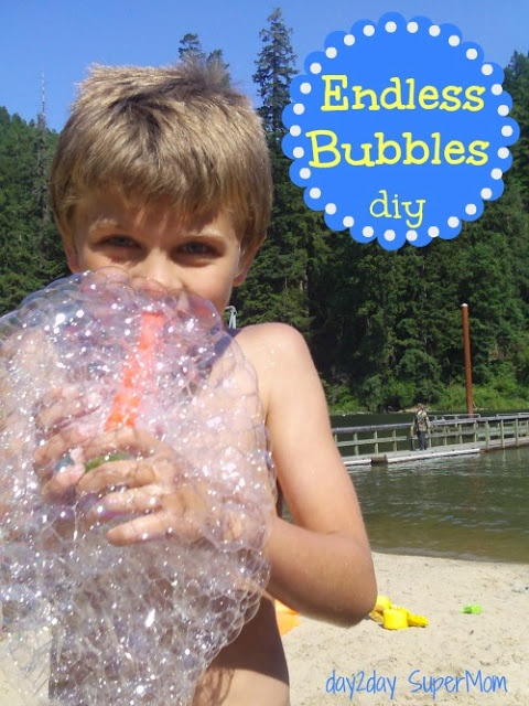 Endless Bubbles:  2 1/2 cups of water to every 1/2 cup light Karo syrup and 1/2 cup Dawn dish soap (no substitutes!) microwave the water & syrup together for 4 minutes first before mixing with the soap (but it works without doing that, too)