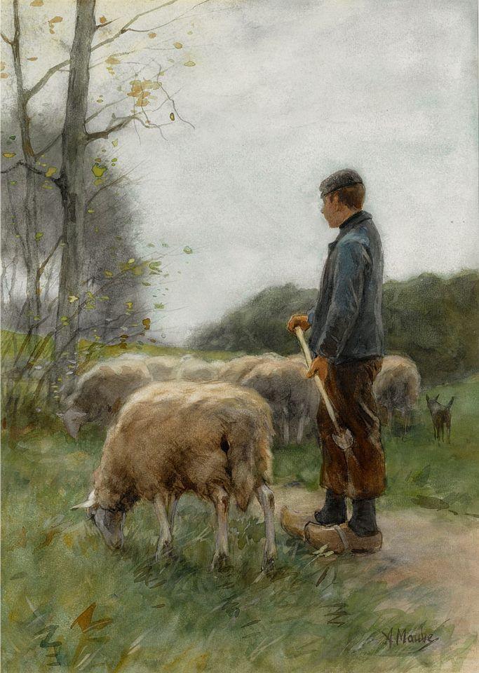 Anton Mauve (Dutch painter) 1838 - 1888  A Shepherd and his Flock, s.d.  watercolour  43 x 31 cm.