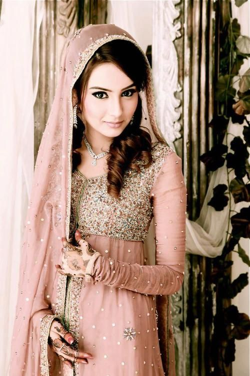 Dust pink! A bride must wear this colour and style on either her engagement or Nikkah such a beautiful colour!