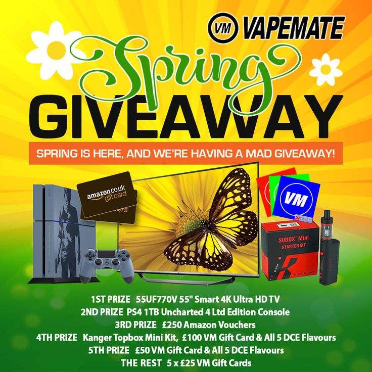 For our 2016 Spring Giveaway we have 10 prizes worth almost £2000 to be won and more than 20 ways to enter!     #vape #vaping #vapemail #vapers #vapechat #vapelife #vape4life #vapour #ecigs #eliquid #vapecommunity #vapeuk #ejuice #vapeporn #vapegiveaway #vapestagram #vapeon #vapenation #vapes #instavape #vapefriends #vaper #vapelove #vapefamily #ukeliquid #eliquid #competition #win #giveaway #prizes