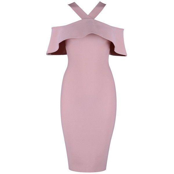 Knee Length Ruffle Halter Bandage Dress (115 BRL) ❤ liked on Polyvore featuring dresses, ruffle halter top, halter neck dress, pink ruffle dress, pink frilly dress and halter dresses