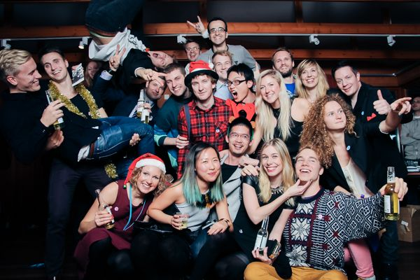 Students celebrating at a pre-Christmas party. © Otso Kaijaluoto