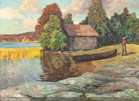 Väinö Hämäläinen (1876-1940) Sauna on the shore - Finland