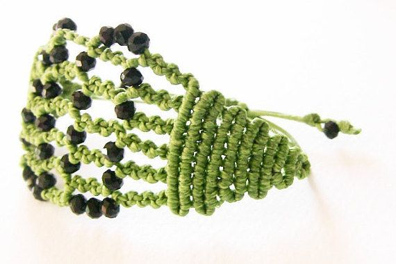 Spirito libero Bracciale verde macramè macrame di morenamacrame