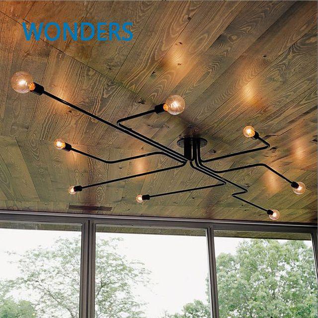 Rétro loft industriel Nordique tuyau En fer Forgé plafonnier lustre lampes pour la maison décor restaurant à manger café bar chambre